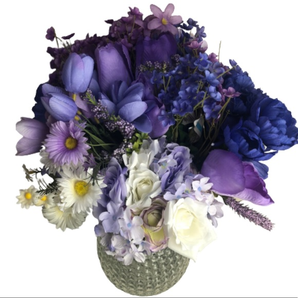 Bundle of Artificial Flowers Purples White Blue
